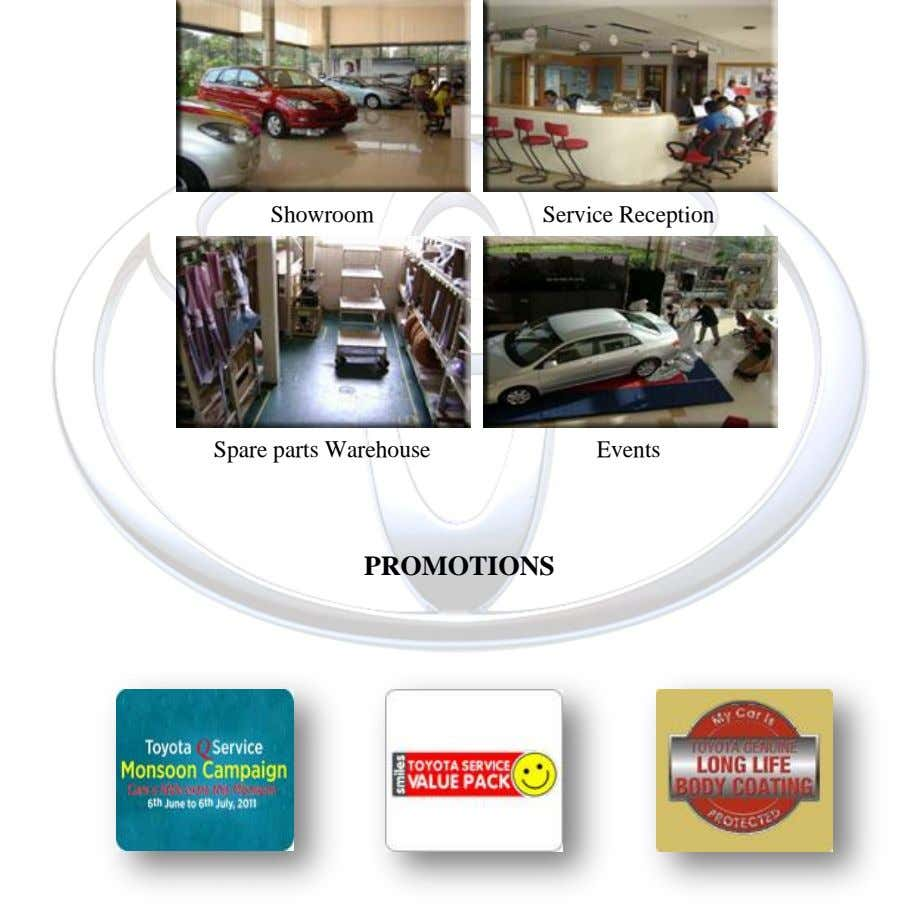 Showroom Service Reception Spare parts Warehouse Events PROMOTIONS