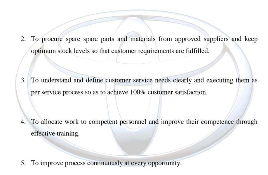 2. To procure spare spare parts and materials from approved suppliers and keep optimum stock levels