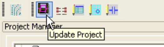 the project, using the icon,just above the project name Once the project is updated, double click