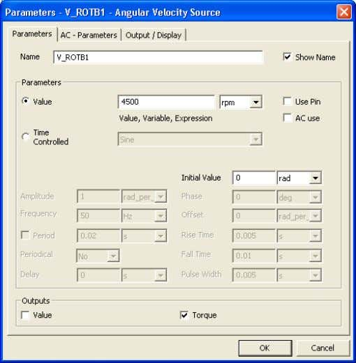 folder, choose the V_ROTB: Angular Velocity Source Enter 4500 rpm and link this component to the