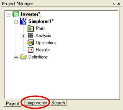 the Components tab from the Project Manager Window Select, from the Basic Elements > Circuit >