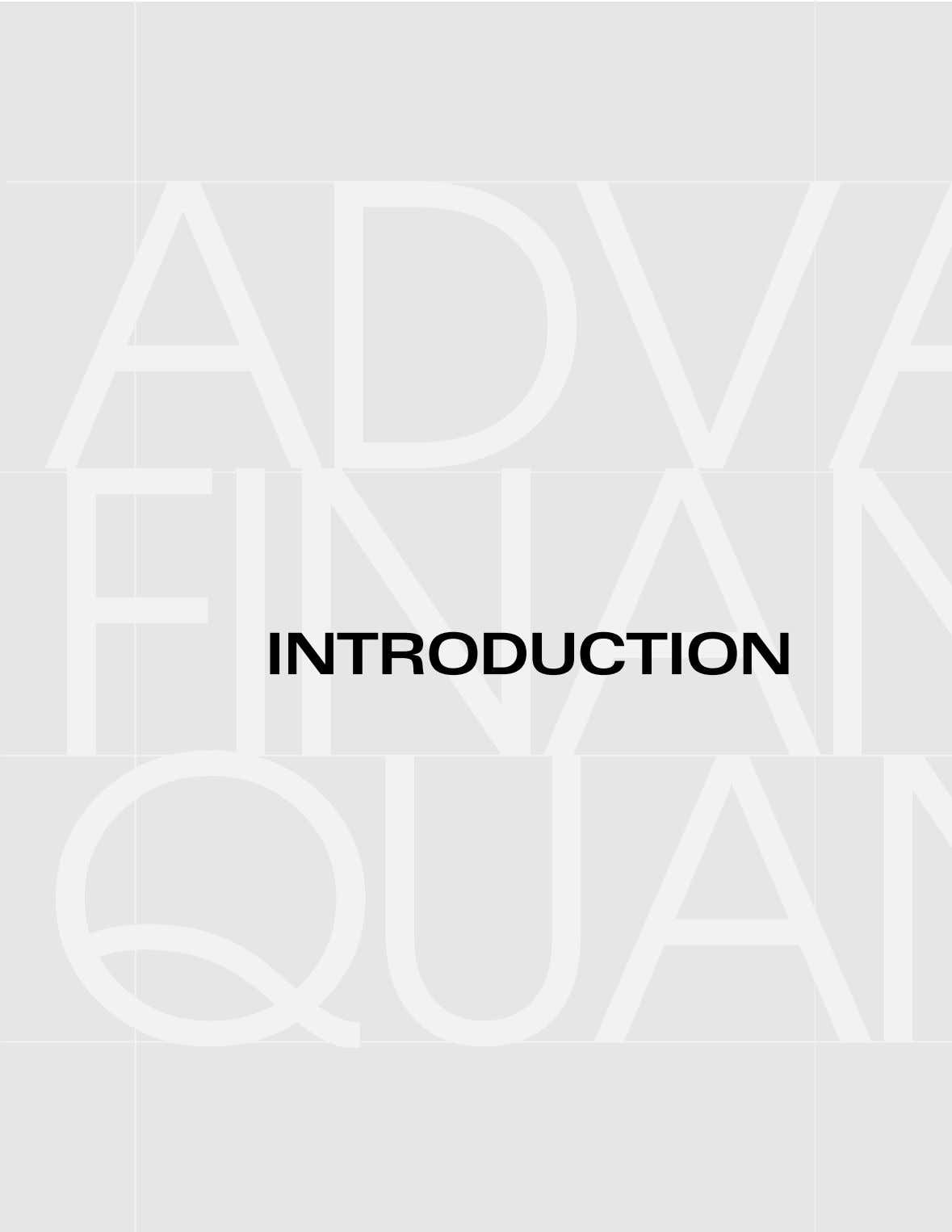 ADV FINAN INTRODUCTION QUA