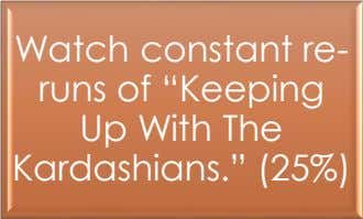 "Watch constant re- runs of ""Keeping Up With The Kardashians."" (25%)"