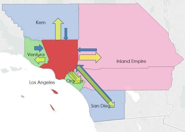 Los Angeles: Net Exit to Inland Empire and Kern County Total Total Number Number Moved County