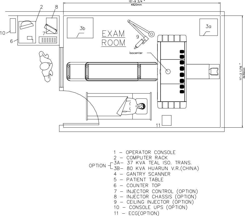 NeuViz 16 Pre-installation Instruction Drawing 3, Minimum Room Layout 8 Revision A 4541 102 60551