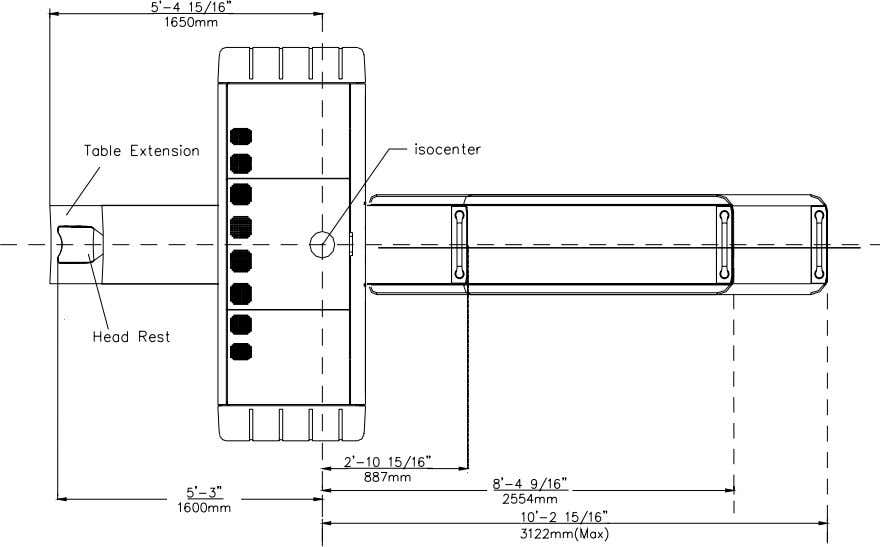 Area The following drawing shows the CT required area: 2.3 Door and Corridor Requirement The following
