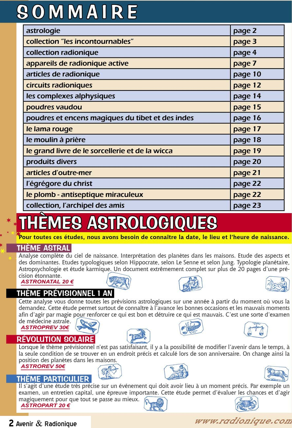 "S O M M A I R E astrologie page 2 collection ""les incontournables"" page"