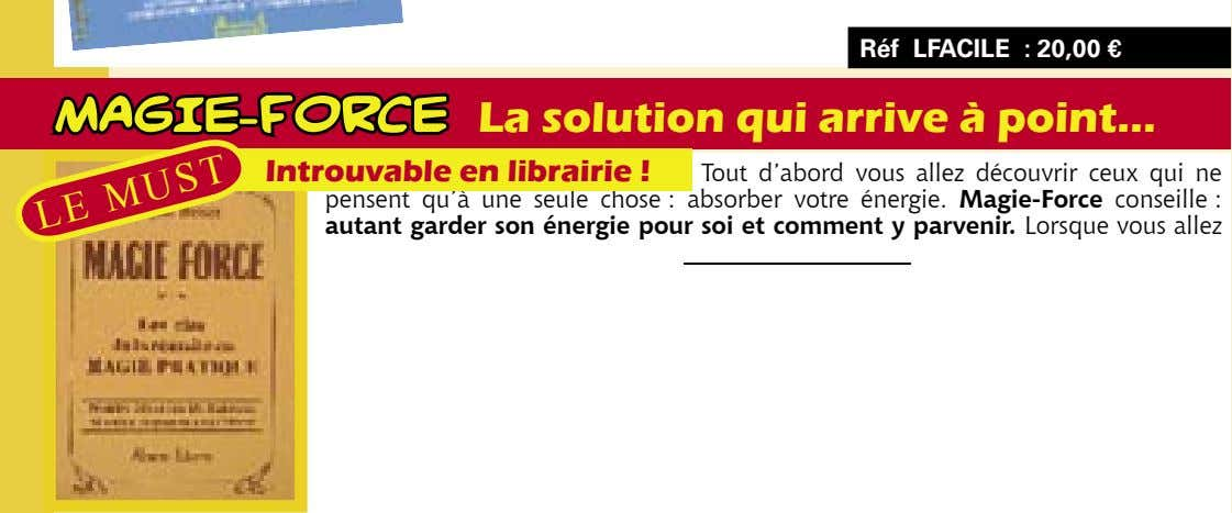 Réf LFACILE : 20,00 € MAGIE-FORCE La solution qui arrive à point… Introuvable en librairie