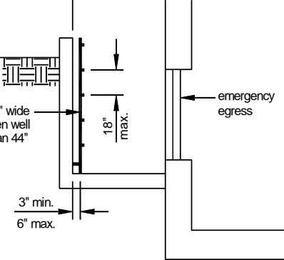 "emergency egress 3"" min. 6"" max. 18"" max."