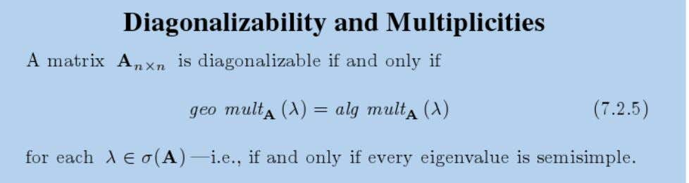 These results lead to the following characterization of diagonalizability.