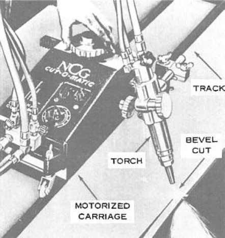 Figure 4-26. — Electric motor-driven carriage being used on straight track to cut a beveled