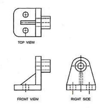 Figure 3-42. — Three-view orthographic drawing of the steel part shown in figure 3-41. Notice