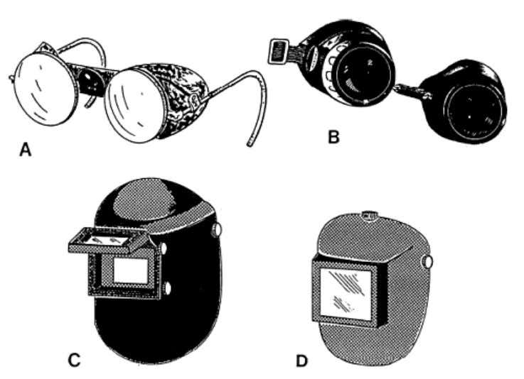 shows several types of eye protection devices in common use. Figure 3-56. — Eye protection devices.