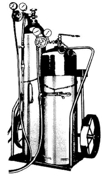 can be piped to a number of individual cutting stations. Figure 4-3. — A portable oxygas