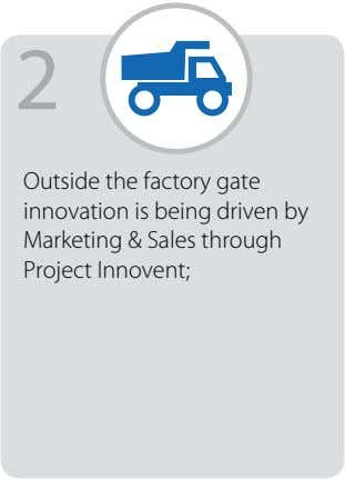 2 Outside the factory gate innovation is being driven by Marketing & Sales through Project