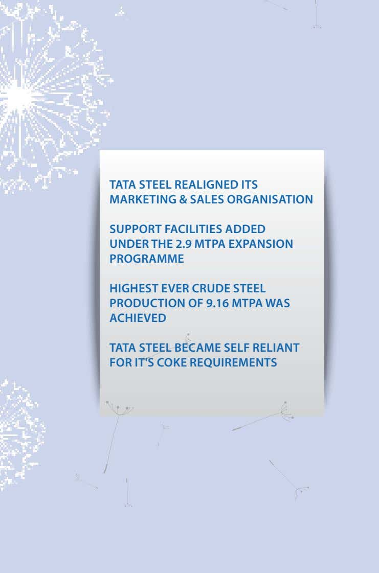 TATA STeel ReAlIGNed ITS mARKeTING & SAleS oRGANISATIoN SuPPoRT FACIlITIeS Added uNdeR THe 2.9 mTPA