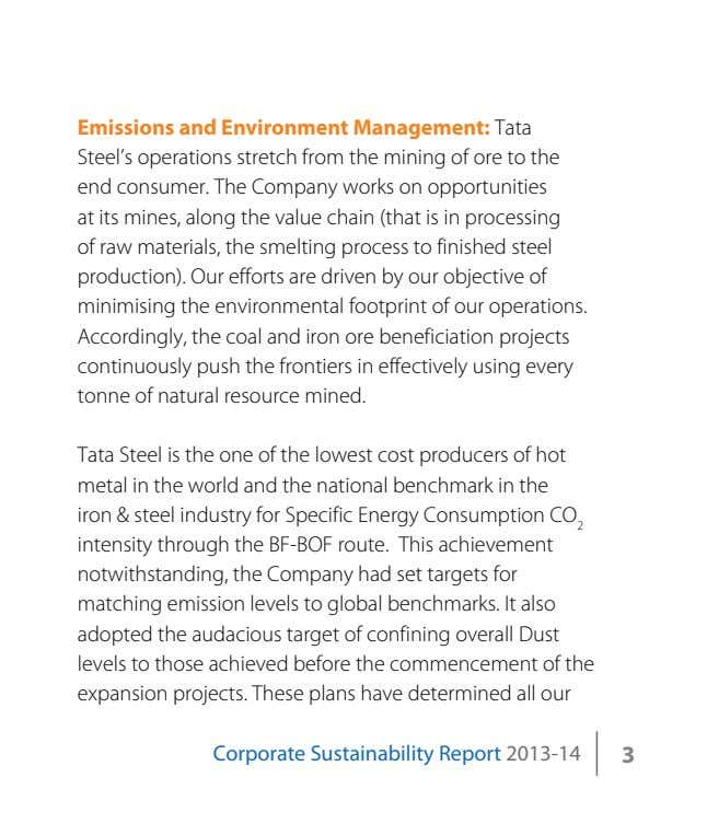 Emissions and Environment Management: Tata Steel's operations stretch from the mining of ore to the