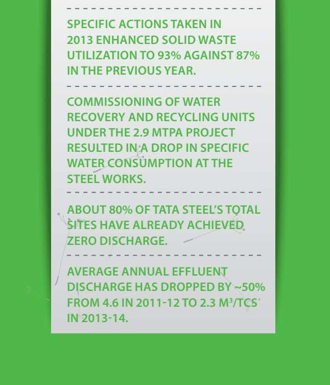 SPeCIFIC ACTIoNS TAKeN IN 2013 eNHANCed SolId WASTe uTIlIzATIoN To 93% AGAINST 87% IN THe