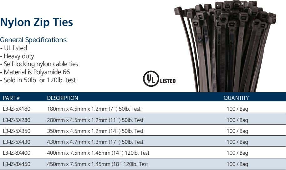 Nylon Zip Ties General Specifications - UL listed - Heavy duty - Self locking nylon