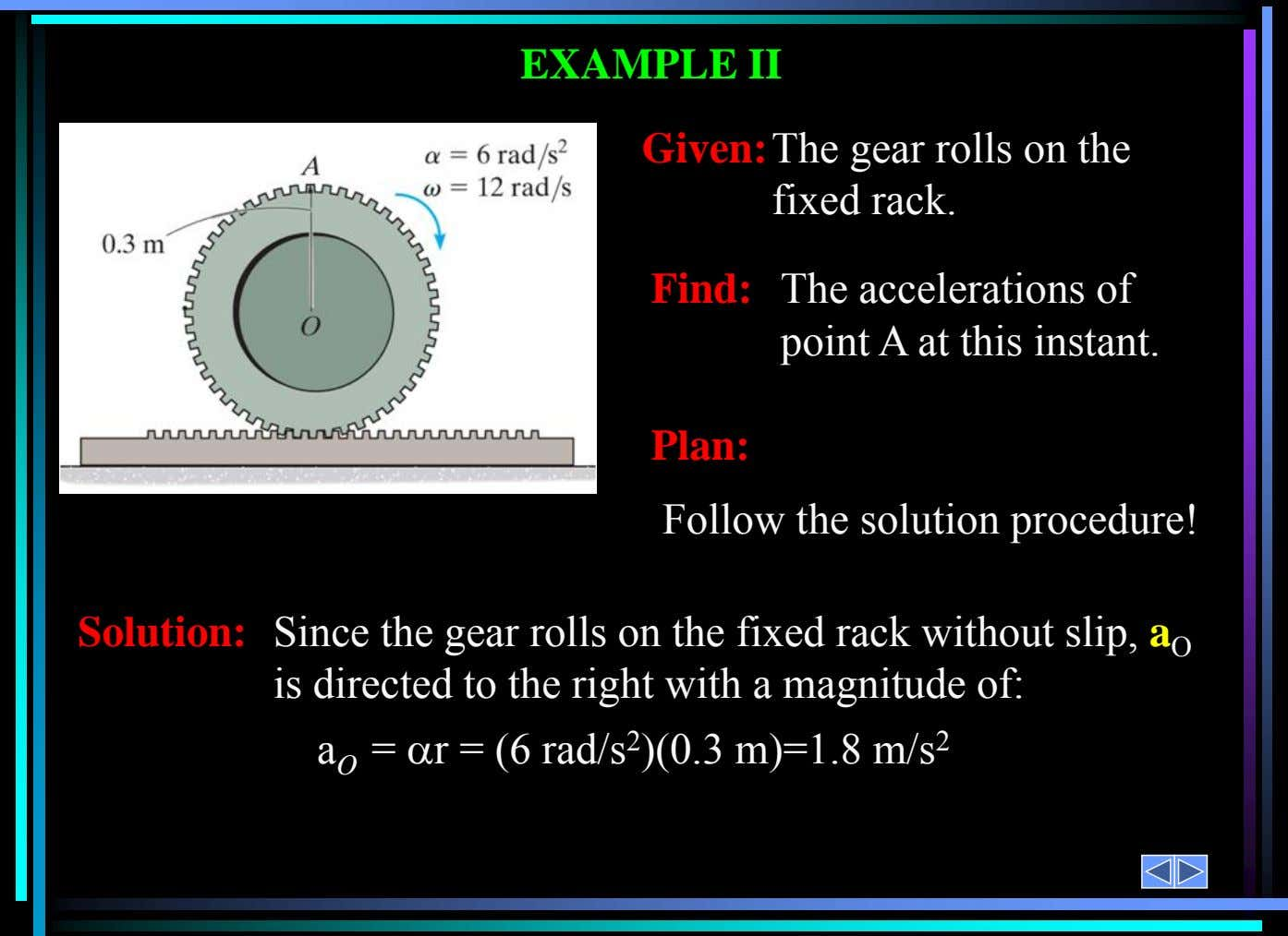 Solution: Since the gear rolls on the fixed rack without slip, a O is directed to