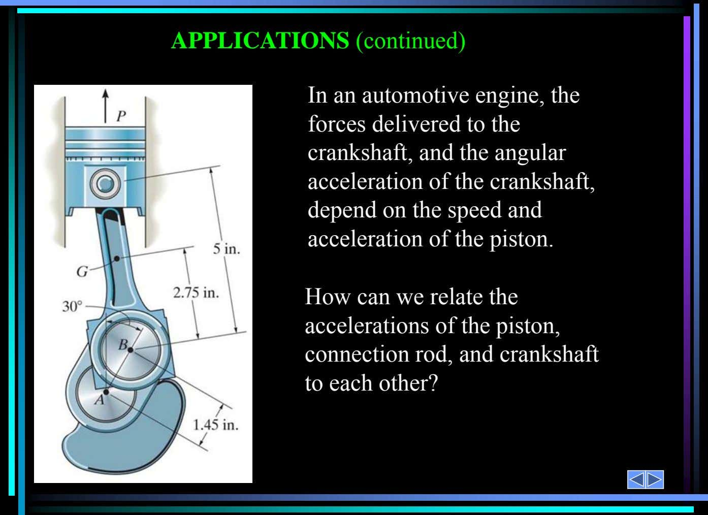 In an automotive engine, the forces delivered to the crankshaft, and the angular acceleration of the