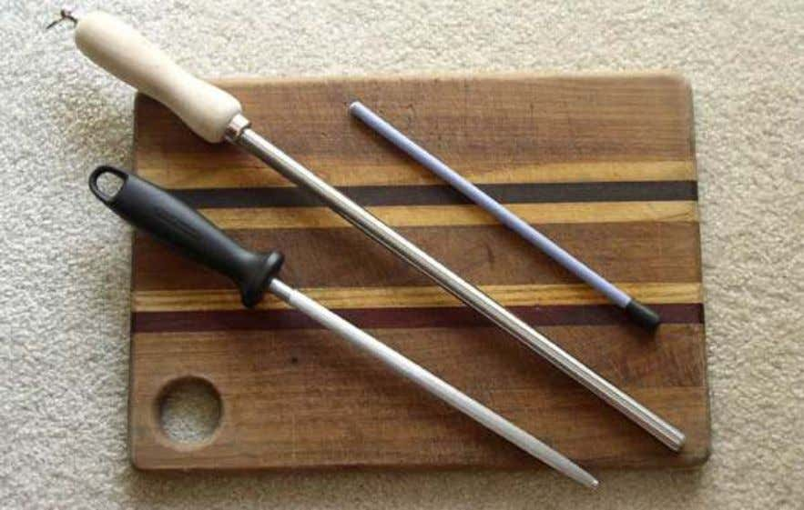 L to R: Grooved steel, smooth steel and 700 grit ceramic rod. Smooth steels are several