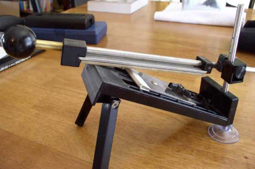 EdgePro Apex sharpening setup. The Apex is rugged and uses relatively large 1 x 6 inch