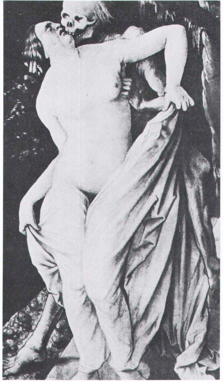 Plate IV. Hans Baldung Grlen . Death embraces a nude woman in front of an
