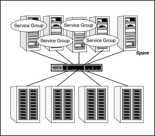 but can connec t multiple servers to the same storage. Service Group Service Group Service Group