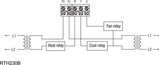 Fan relay Heat relay Cool relay RTH230B