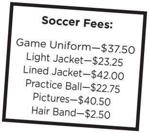 Soccer Fees: Game Uniform—$37.50 Jacket—$23.25 Lined Light Jacket—$42.00 Practice Ball—$22.75 Pictures—$40.50 Hair Band—$2.50