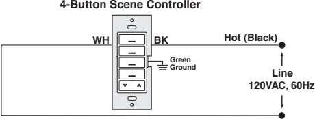4-Button Scene Controller Hot (Black) WH BK Green Ground Line 120VAC, 60Hz
