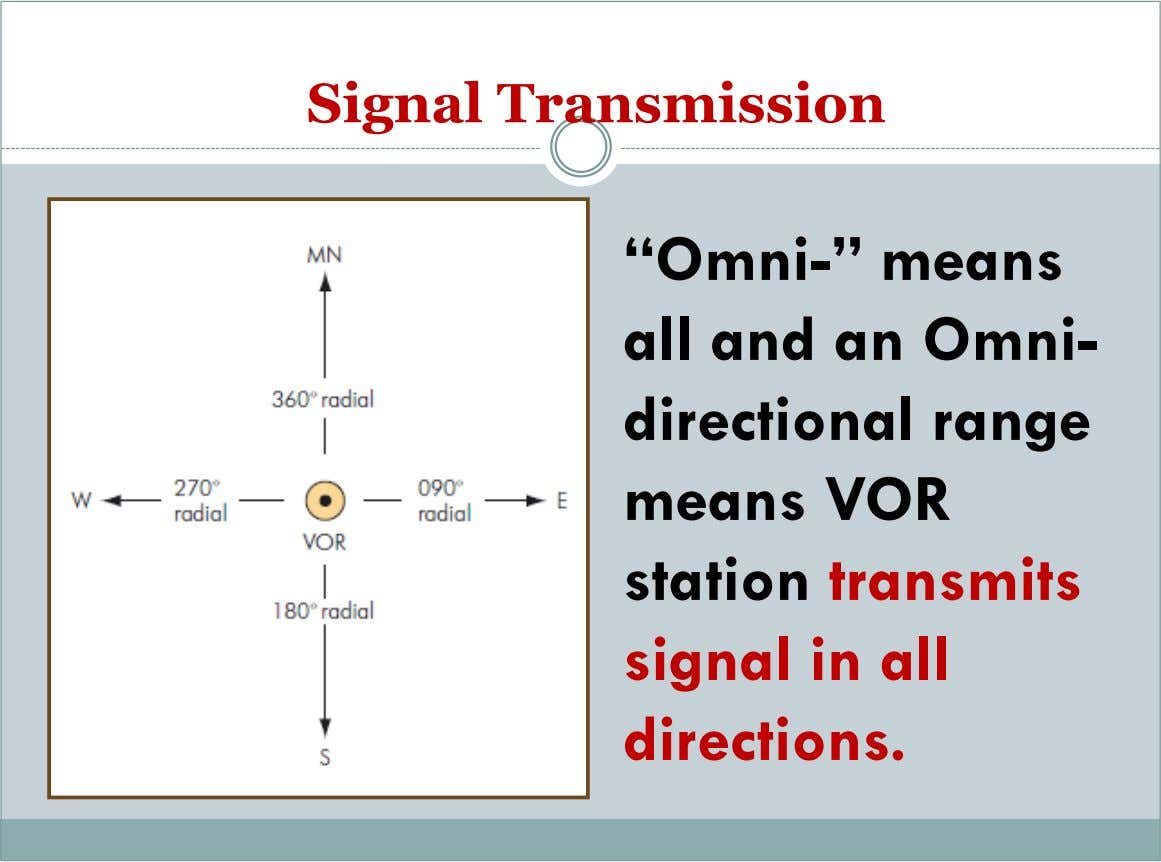 "Signal Transmission ""Omni-"" means all and an Omni- directional range means VOR station transmits signal"
