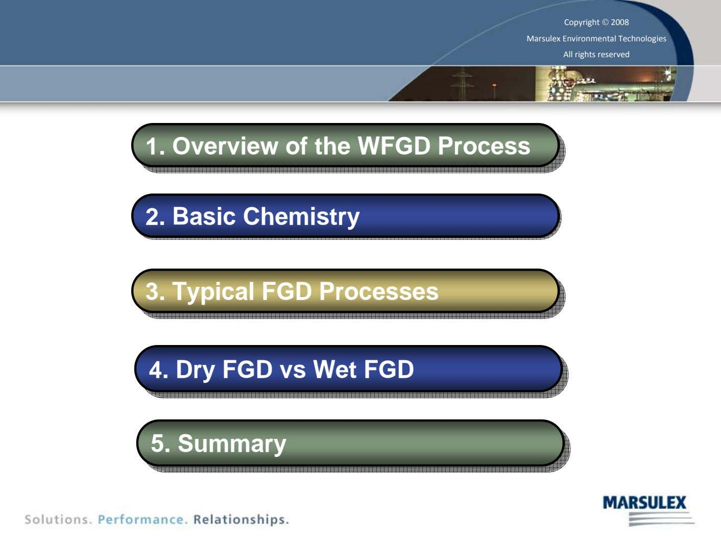 Copyright © 2008 Marsulex Environmental Technologies All rights reserved 1. Overview of the WFGD Process 1.