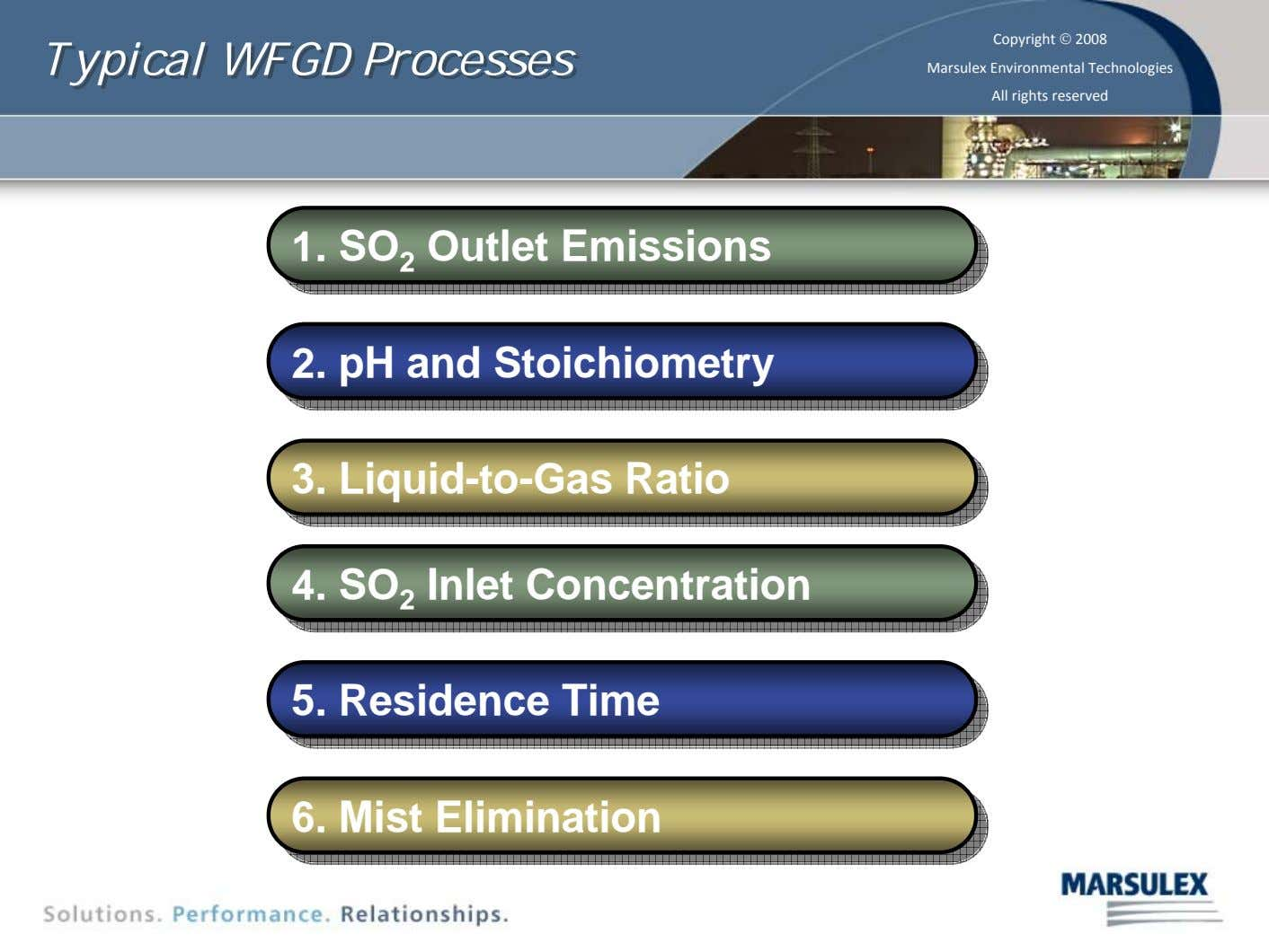 Typical Typical WFGD WFGD Processes Processes Copyright © 2008 Marsulex Environmental Technologies All rights reserved 1.