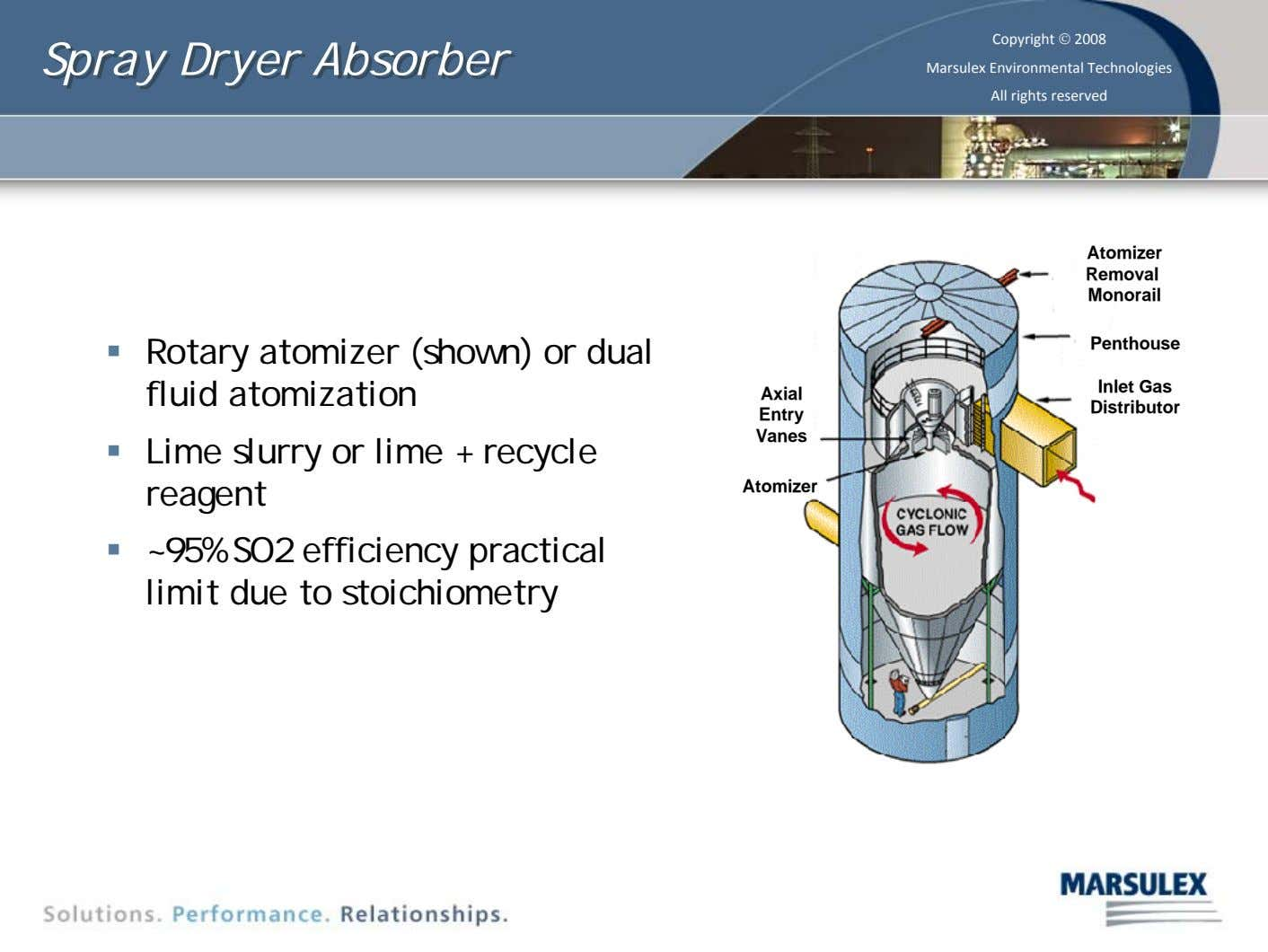 Spray Spray Dryer Dryer Absorber Absorber Copyright © 2008 Marsulex Environmental Technologies All rights reserved Atomizer