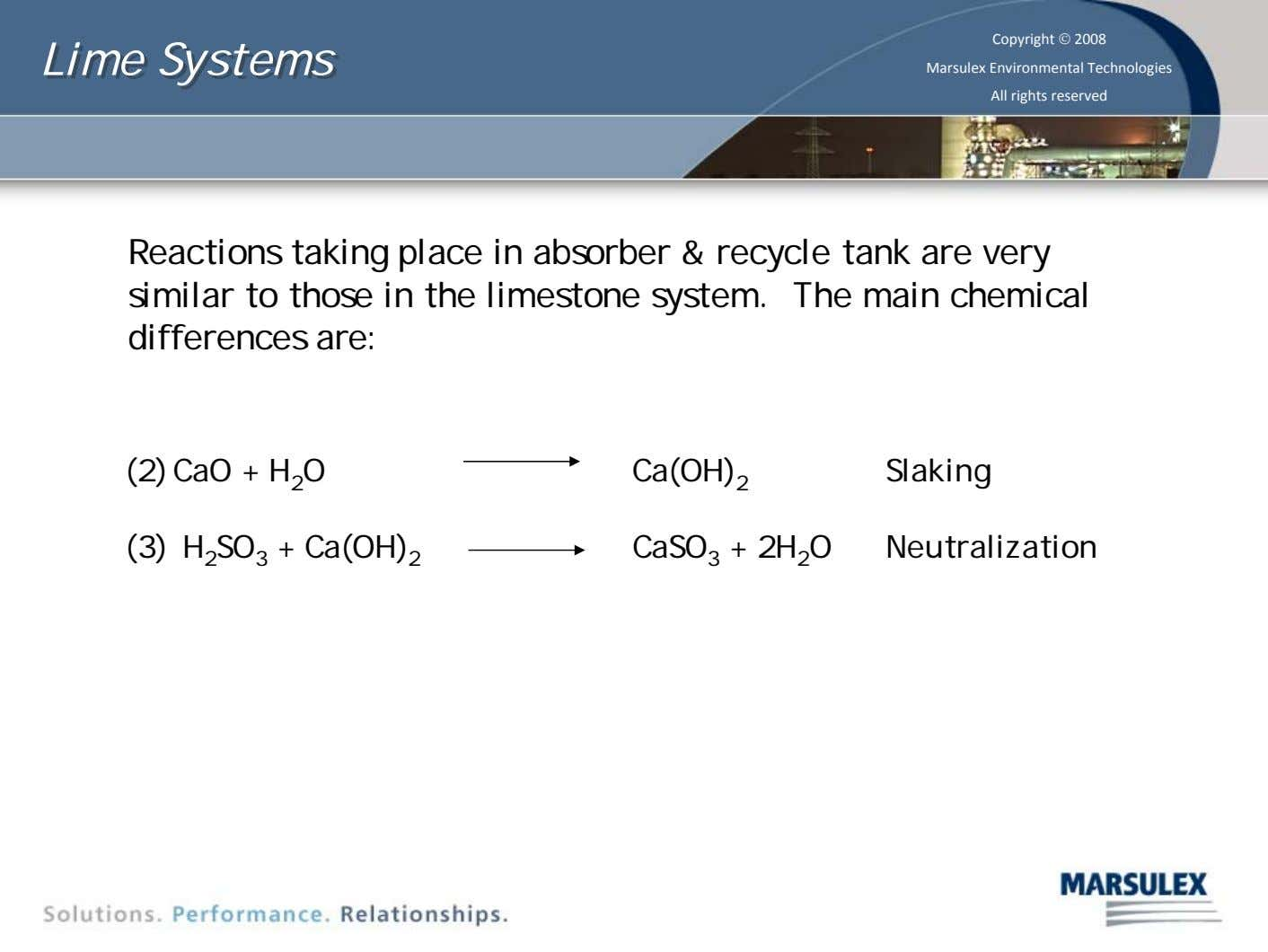 Lime Lime Systems Systems Copyright © 2008 Marsulex Environmental Technologies All rights reserved Reactions taking place