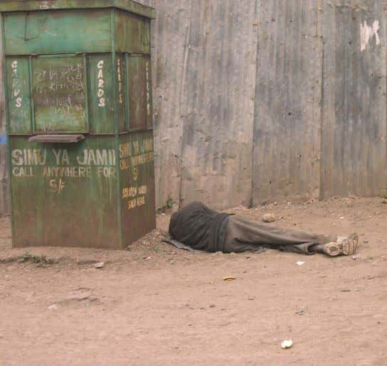 on 8th August in DC grounds in Kibera Photo | Courtersy A Mathare resident lies on