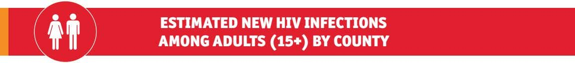 ESTIMATED NEW HIV INFECTIONS AMONG ADULTS (15+) BY COUNTY