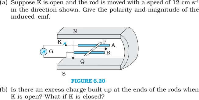 (a) Suppose K is open and the rod is moved with a speed of 12