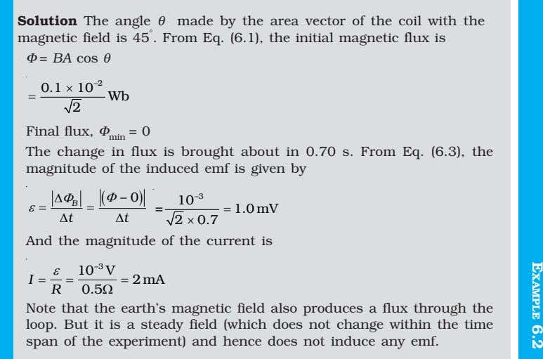 Solution The angle θ made by the area vector of the coil with the magnetic