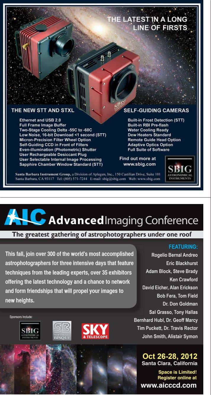 AIC AdvancedImaging Conference The greatest gathering of astrophotographers under one roof FEATURING: This fall, join