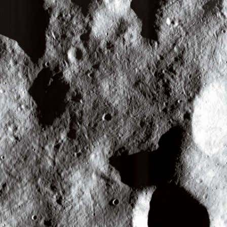 This image from Vesta's largely unexplored northern hemisphere shows its surface etched with subtle grooves,