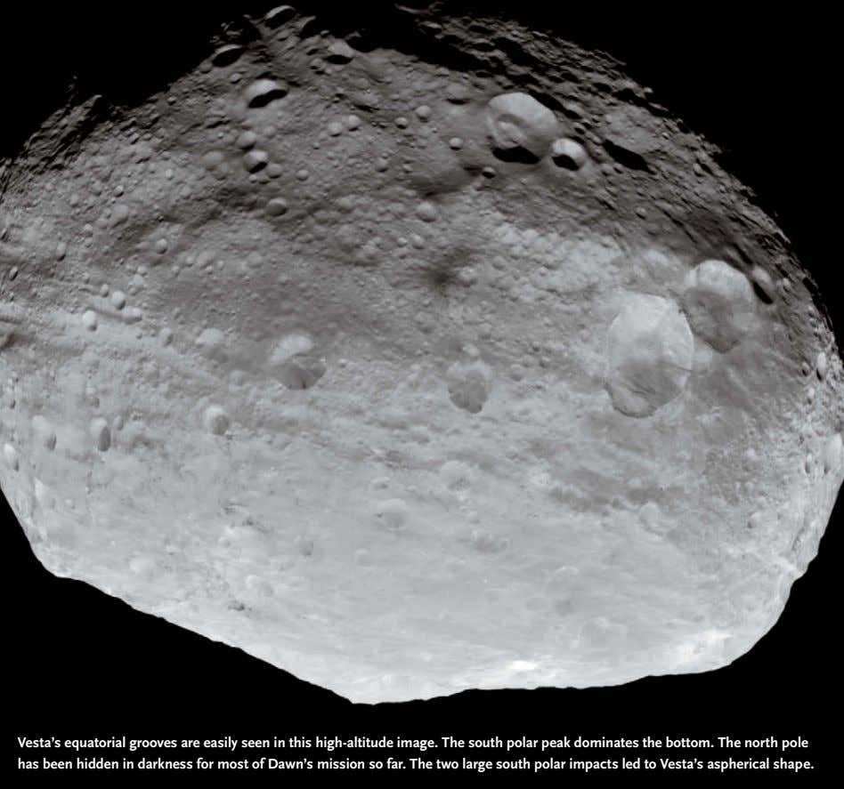 Vesta's equatorial grooves are easily seen in this high-altitude image. The south polar peak dominates