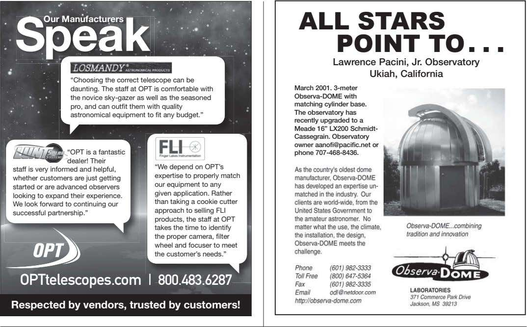 "Our Manufacturers Speak ALL STARS POINT TO Lawrence Pacini, Jr. Observatory Ukiah, California ""Choosing the"