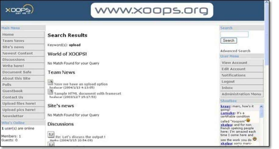XN-001 A visual introduction to XOOPS Figure 3.6. Search results are sorted by module so you