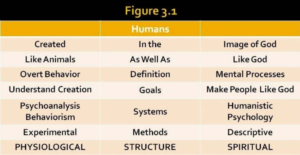 in the lower, center of Figure 3:1 (Structure- spiritual). We agree that humans are similar to