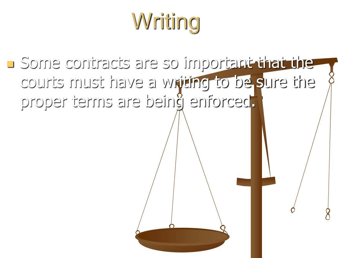 Writing Some contracts are so important that the  courts must have a writing to be