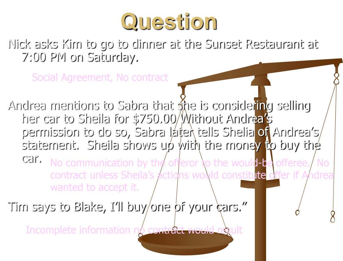 Question Nick asks Kim to go to dinner at the Sunset Restaurant at 7:00 PM on