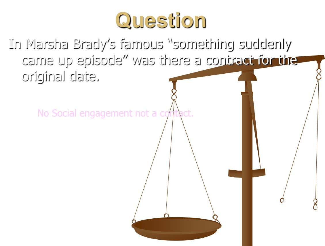 "Question In Marsha Brady's famous ""something suddenly came up episode"" was there a contract for the"